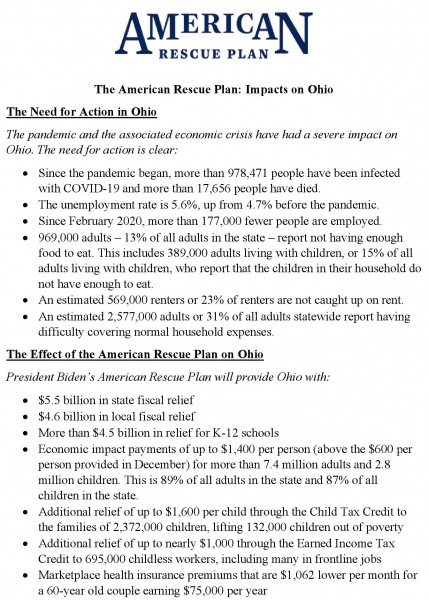 American Rescue Plan Ohio Fact Sheet